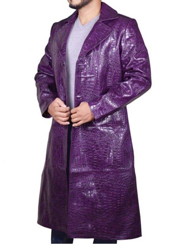 Joker Suicide Squad Jared Leto Crocodile Leather Coat