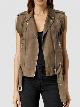 Lucy Hale Pretty Little Liars Brown Fringed Vest