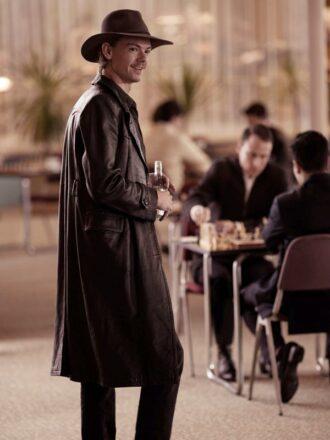 Matthew Dennis Lewis The Queen's Gambit Matt Black Leather Trench Coat