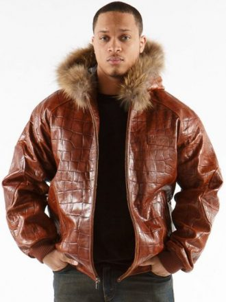 Men's Alligator Print Leather Jacket
