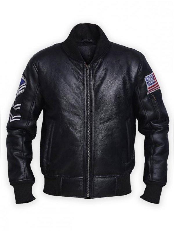 Men's Black American Flag Leather Jacket