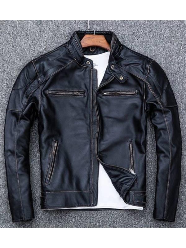 Men's Distressed Black Skull Vintage Biker Jacket