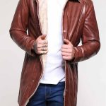 Men's Shearling Mid-Length Brown Leather Coat