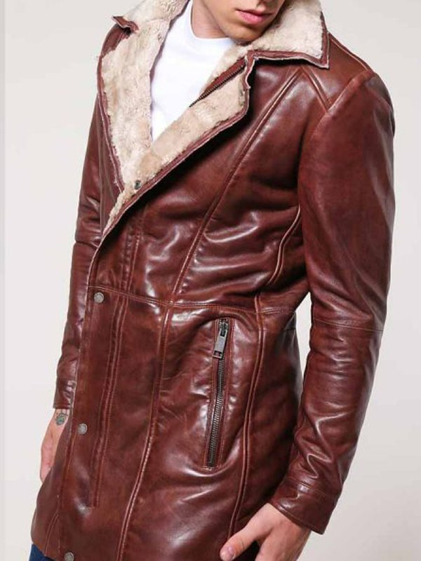 Men's Shearling Mid-Length Leather Coat