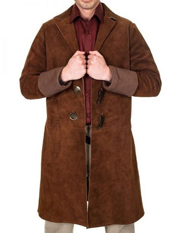 Nathan Fillion Firefly Malcolm Reynolds Suede Leather Brown Trench Coat