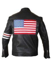 Peter Fonda Easy Rider US Flag Black Leather Jacket