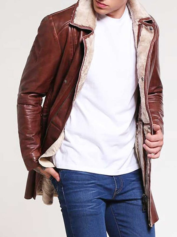 Shearling Brown Leather Coat For Men's