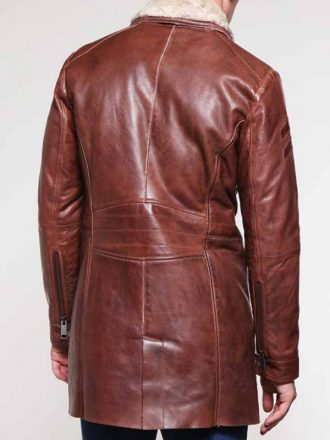 Shearling Brown Leather Mid-Length Coat For Men's