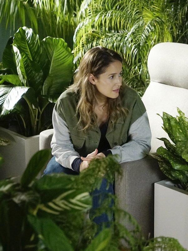 Station 19 Jaina Lee Ortiz Green Denim Jacket With Grey Sleeves