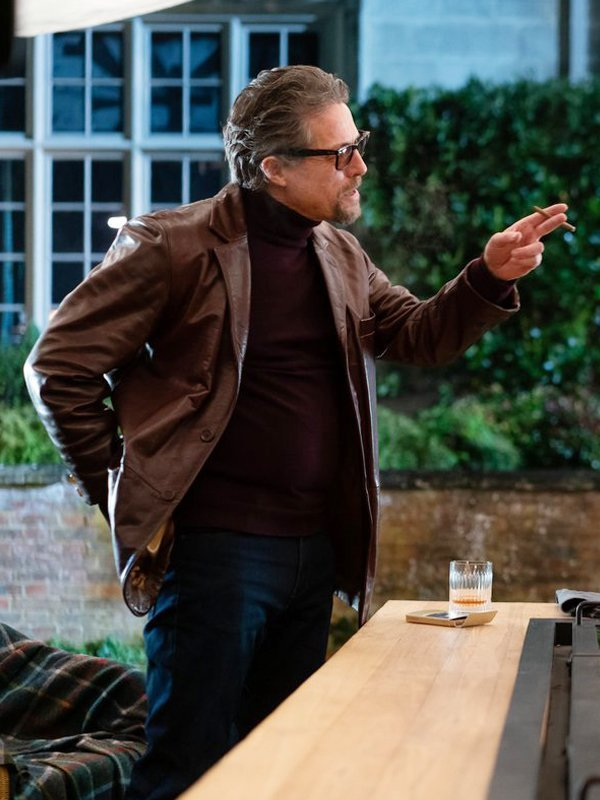 The Gentlemen Hugh Grant Leather Brown Blazer