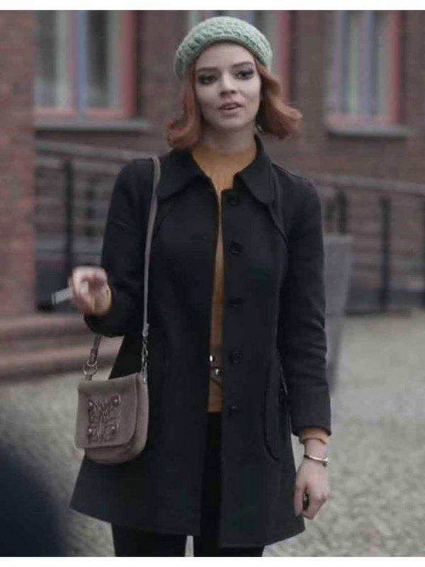 The Queen's Gambit Anya Taylor-Joy Black Coat