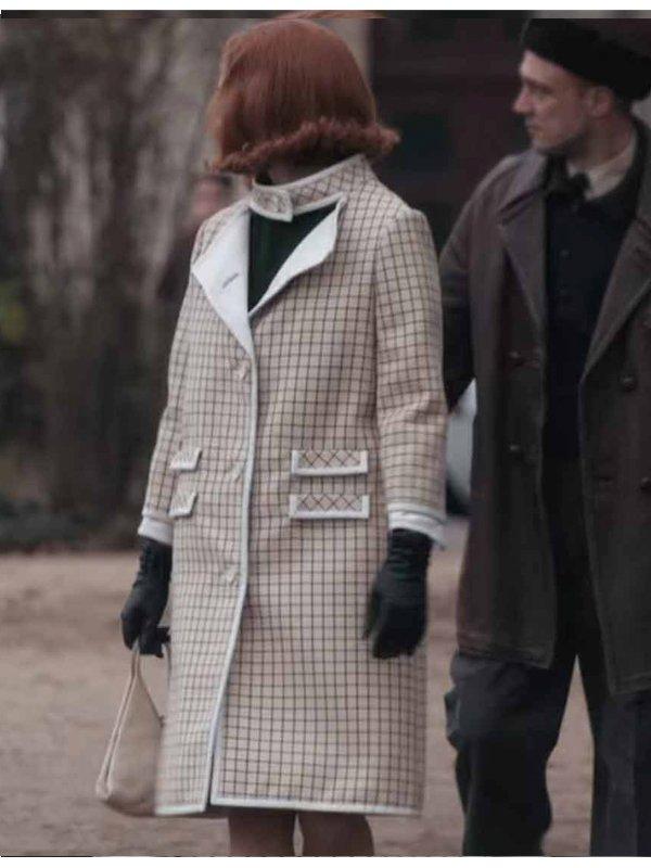 The Queen's Gambit Anya Taylor-Joy Pink Wool Coat
