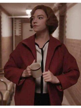 The Queen's Gambit Anya Taylor-Joy Red Wool Coat