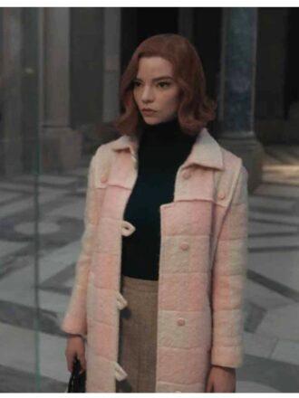 The Queen's Gambit Beth Harmon Light Pink Wool Coat
