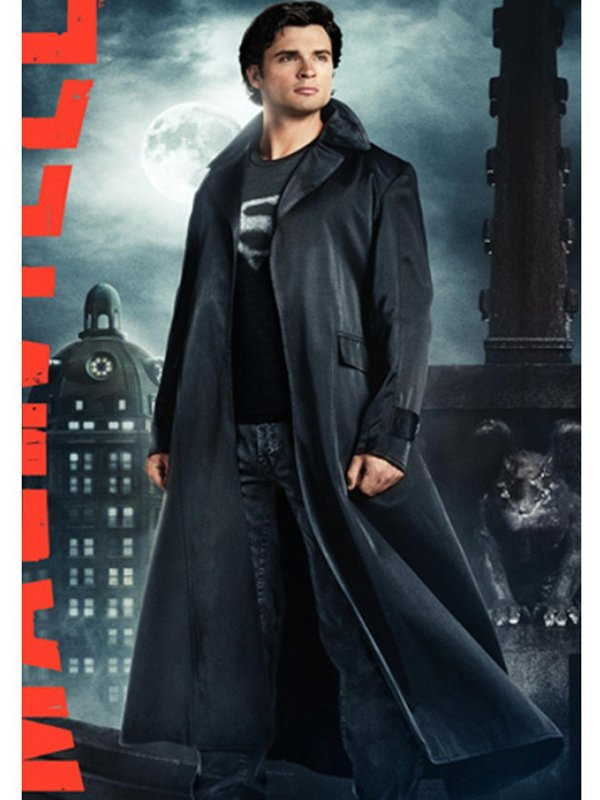 Tom Welling Smallville Superman Clark Kent Leather Trench Coat