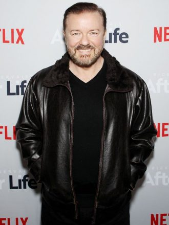 Tv Series After Life Tony Johnson Leather Black Jacket With Fur Collar