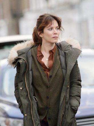 Tv Series Marcella Anna Friel Green Fur Coat