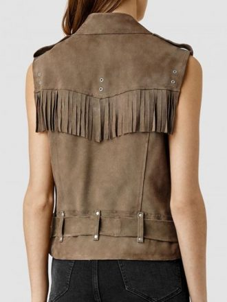 Tv Series Pretty Little Liars Aria Montgomery Suede Leather Fringed Vest