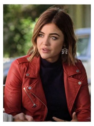 Tv Series Pretty Little Liars Lucy Hale Red Leather Biker Jacket