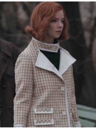 Tv Series The Queen's Gambit Anya Taylor-Joy Pink Checkered Coat