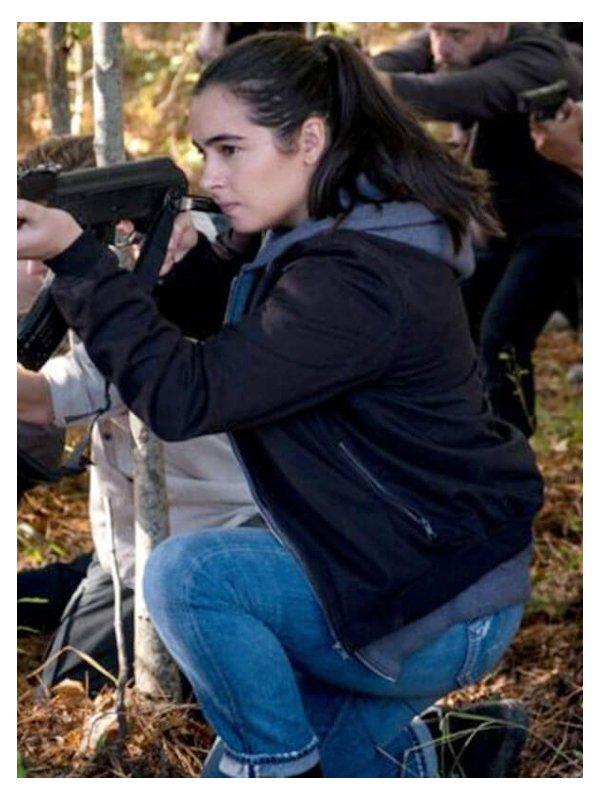 Tv Series The Walking Dead Alanna Masterson Black Bomber Jacket