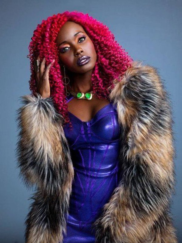 Tv Series Titans Anna Diop Starfire Faux Fur Coat