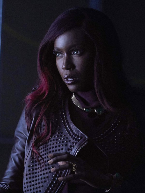 Tv Series Titans Anna Diop Studded Brown Leather Jacket