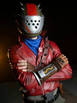 Video game Fortnite Rust Lord Red Leather Biker Jacket