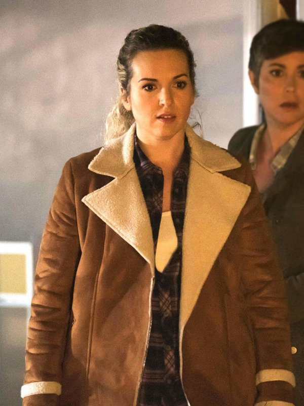 Briana Buckmaster Supernatural Donna Hanscum Brown Shearling Suede Leather Jacket
