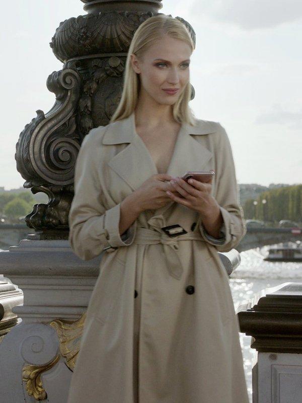 Camille Razat Emily in Paris Camille Cream Cotton Trench Coat