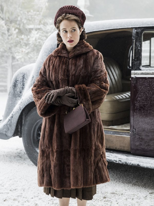 Claire Foy The Crown Shearling Coat