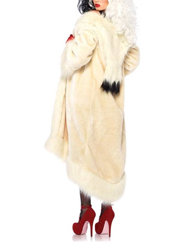 Cruella De Vil Faux Fur Long Coat