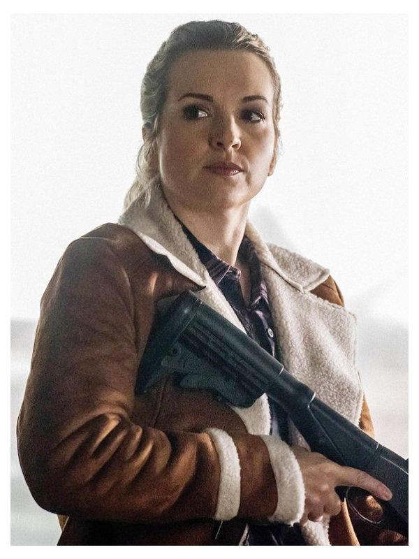 Donna Hanscum Supernatural Shearling Brown Leather Jacket