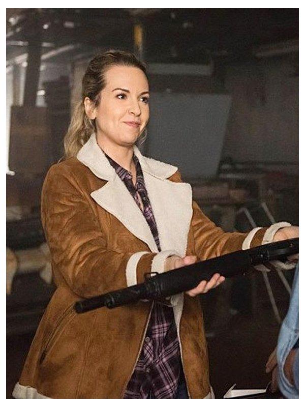 Donna Hanscum Supernatural Shearling Suede Brown Jacket