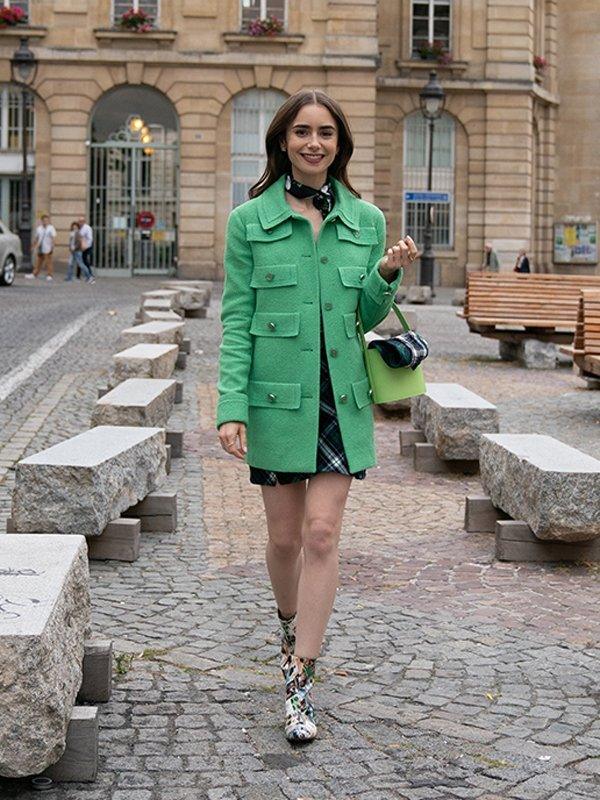 Emily In Paris Emily Cooper Mid Length Green Jacket