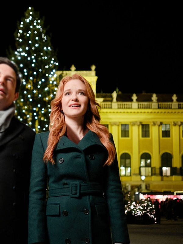 Jess Waters Christmas in Vienna Sarah Drew Double Breasted Green Coat