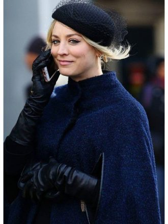 Kaley Cuoco The Flight Attendant Cassie Bowden Blue Wool Cape Coat