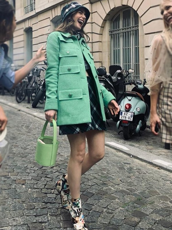 Lily Collins Emily In Paris GreenCoat