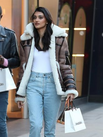 London Neelam Gill Shearling Brown Double Collar Leather Jacket