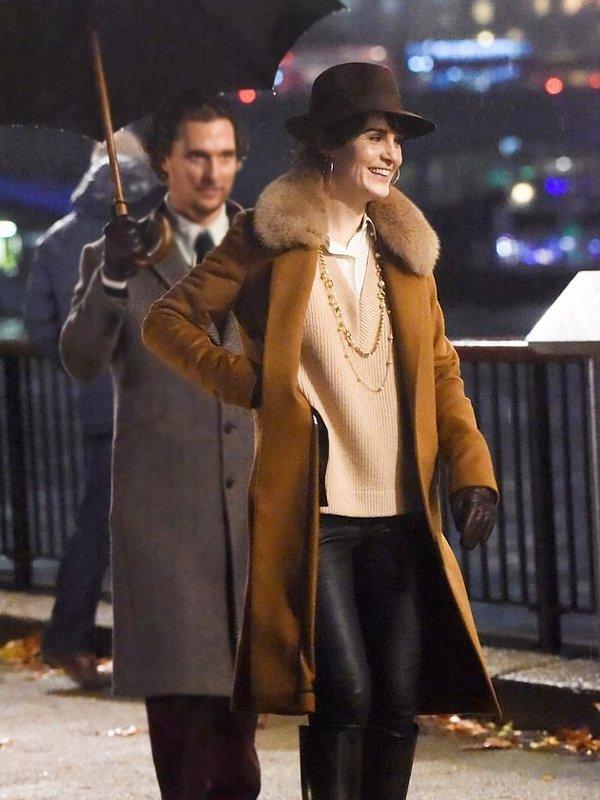 Michelle Dockery The Gentlemen Brown Wool Coat With Fur Collar