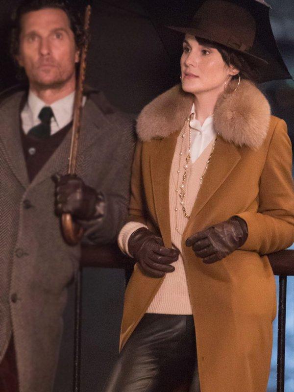 Michelle Dockery The Gentlemen Brown Wool Coat