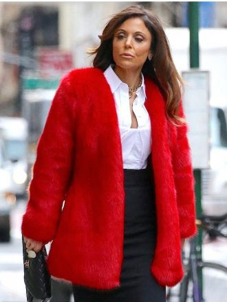 New York Bethenny Frankel Red Faux Fur Coat
