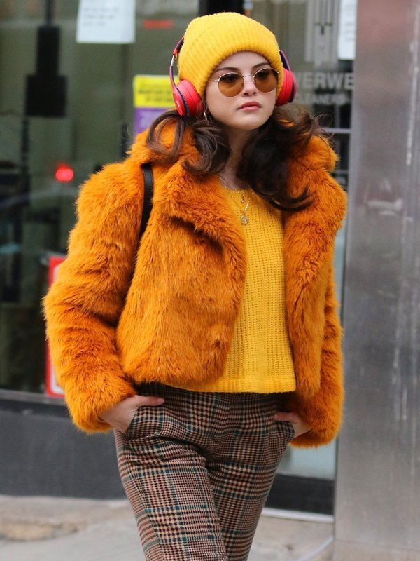 Only Murders in the Building Selena Gomez Faux Fur Jacket