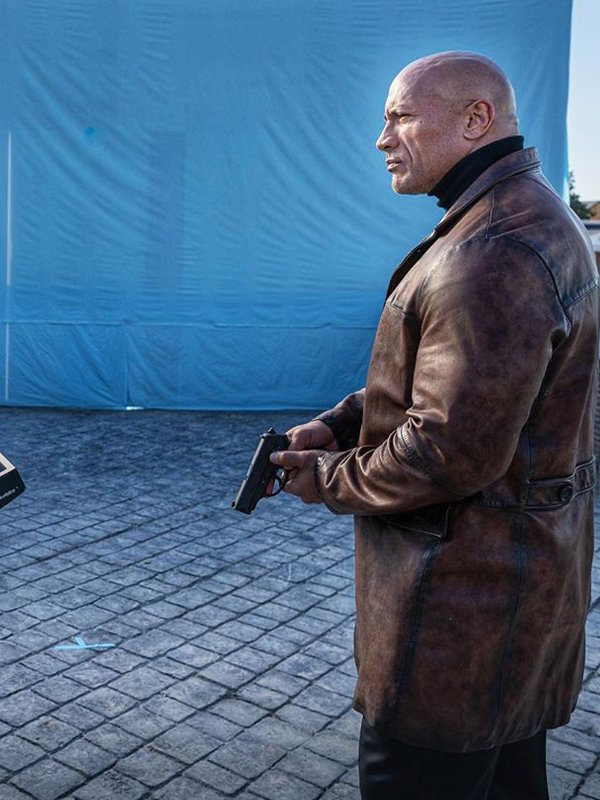 Red Notice Dwayne Johnson Brown Leather Coat