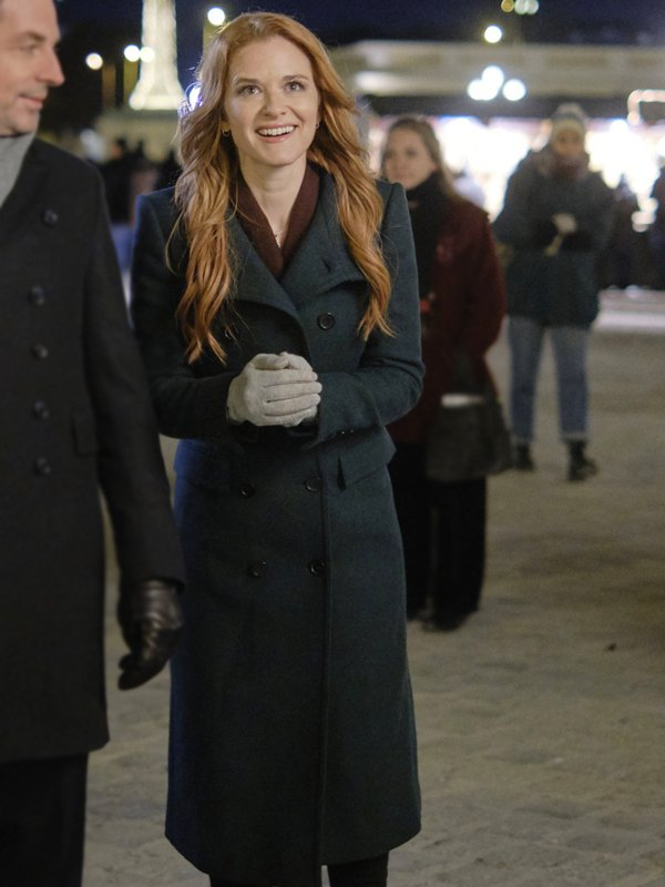 Sarah Drew Christmas in Vienna Green Long Coat