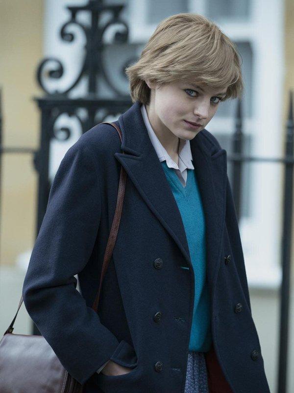 The Crown Emma Corrin Blue Spencer Coat