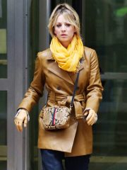 The Flight Attendant Kaley Cuoco Brown Leather Coat