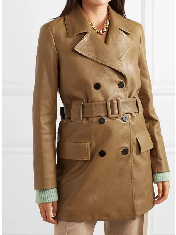 The Flight Attendant Kaley Cuoco Mid-Lenght Brown Coat