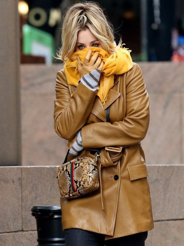 The Flight Attendant Kaley Cuoco Mid-Lenght Brown Leather Coat