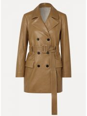 The Flight Attendant Kaley Cuoco Mid-Lenght Leather Coat
